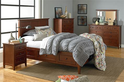 mckenzie bedroom furniture mckenzie queen wood storage platform bed cherry