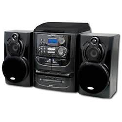 shelf stereo system with record player 3 cd