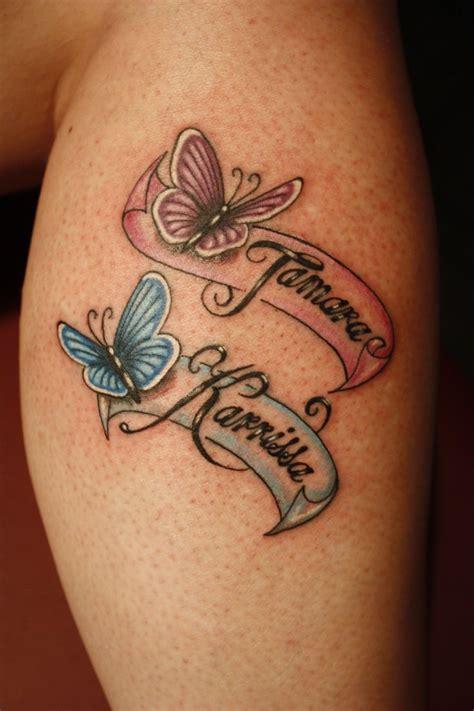 mariposas con lazos con nombre de hijos tatuajes para