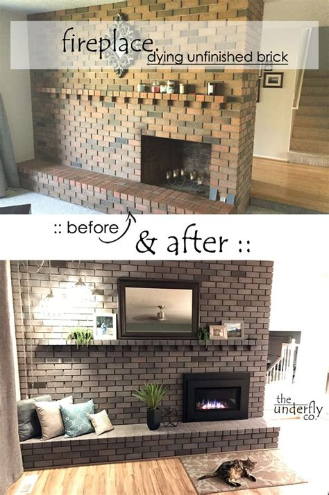 changing brick color  paint white wash  stain  concrete dye fireplace makeover