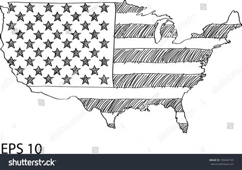 sketchbook usa america flag map vector sketch usa stock vector 109442165