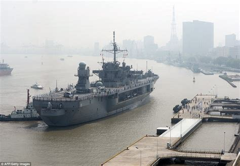 us navy command ship docks in shanghai after it was turned away from hong kong daily mail