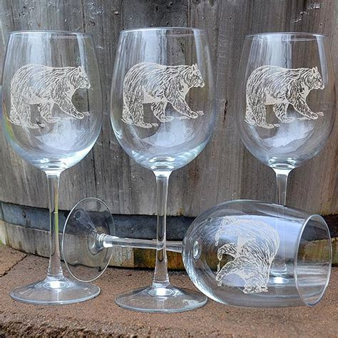 Napa Valley Bear 16 oz. Etched Wine Glass Sets: Cabin Place