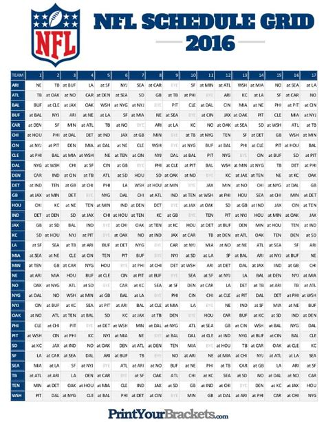 printable nfl schedule with betting line nfl full season schedule grid 2016 printable printable