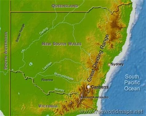 physical map of new south wales, australia