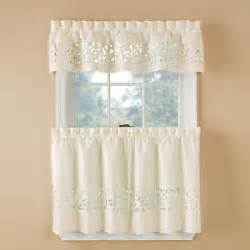 Kitchen Tier Curtains 3 Pc Ivory Laser Cut Kitchen Curtain Set Valance 24 Quot L Tiers Tiny Brown Stains Ebay