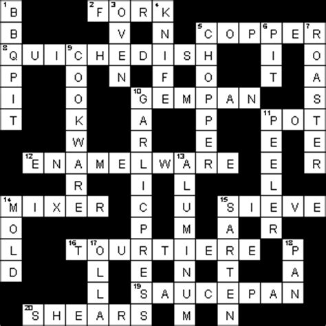 Kitchen Utensil Crossword by Kitchen Tools Crossword Puzzle Clue Besto