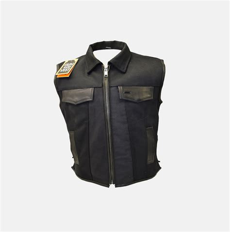 motorbike vest single panel canvas motorcycle vest with gun pockets