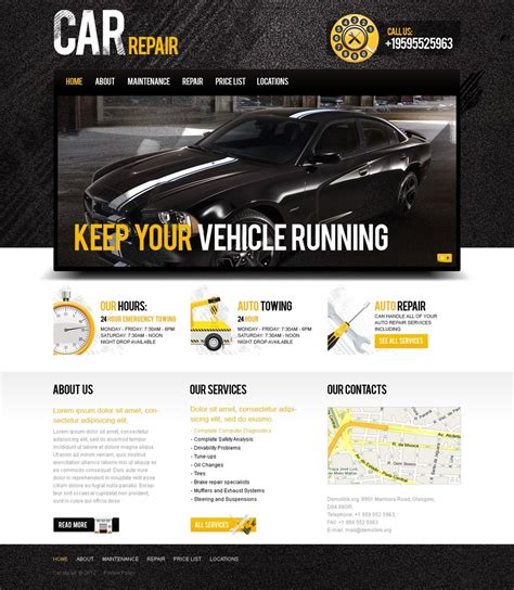 automotive templates car repair website template 38972