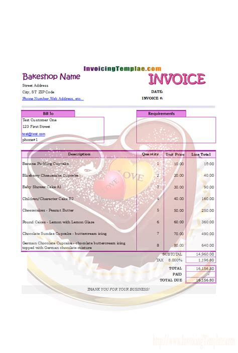 bakery invoice template hotel receipt template