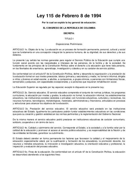 el ogeto de lalei 115de 1994 ley general de educaci 243 n 115 de 1994