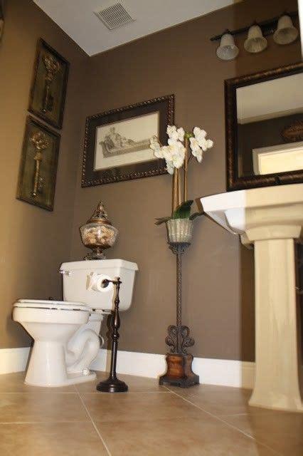 color  guest bath dark brown walls bathroom