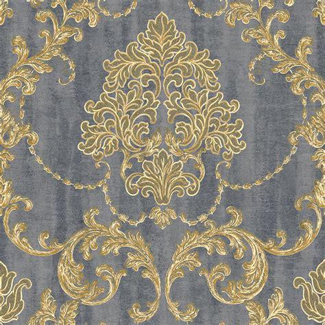 Tapete Grau Gold by 130304 Vliestapete Barock Ornament Gold Grau Metallic