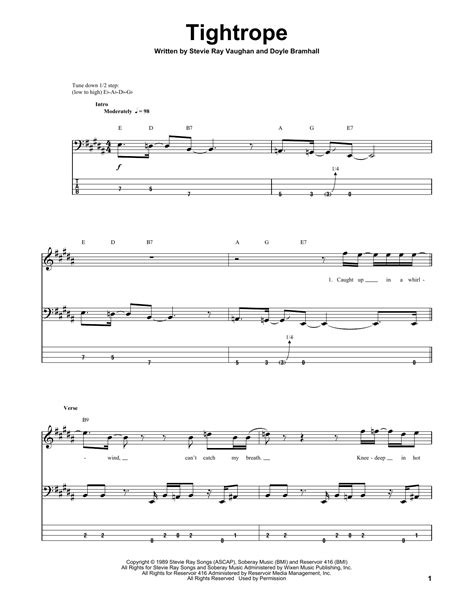 tightrope  stevie ray vaughan bass tab guitar instructor