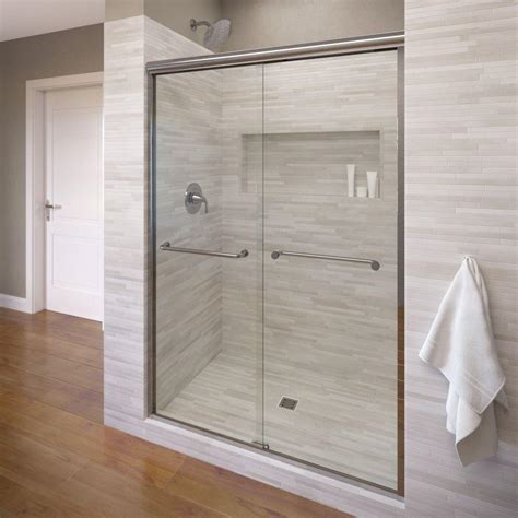 Bosco Shower Doors Basco Infinity 47 In X 70 In Semi Frameless Sliding Shower Door In Silver With Aquaglidexp