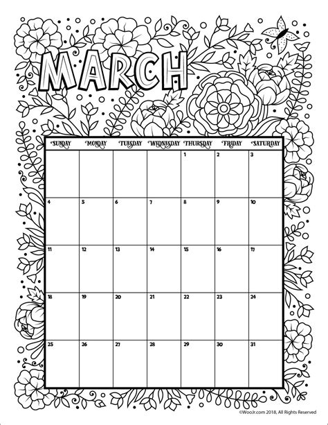 2018 coloring calendar monthly planner books march 2018 coloring calendar page woo jr activities