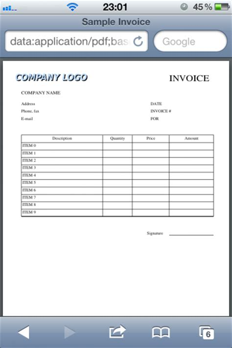 javascript bench how to create pdf invoice with table and logo using