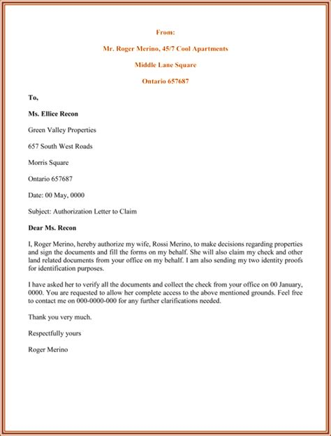 authorization letter to claim certification authorization letter format letter format 2017