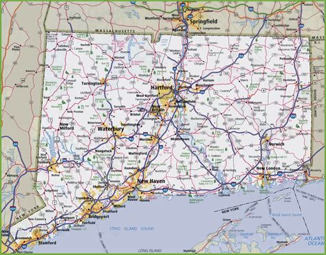 printable connecticut road map large detailed map of connecticut with cities and towns