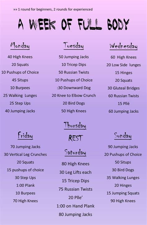 25 best ideas about 1 week workout on weekly