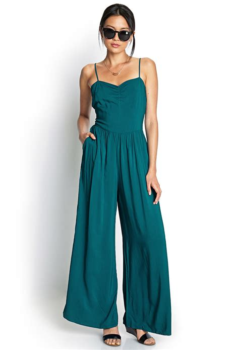 Fashion Shirt Jy773610 Green lyst forever 21 wide leg jumpsuit in green
