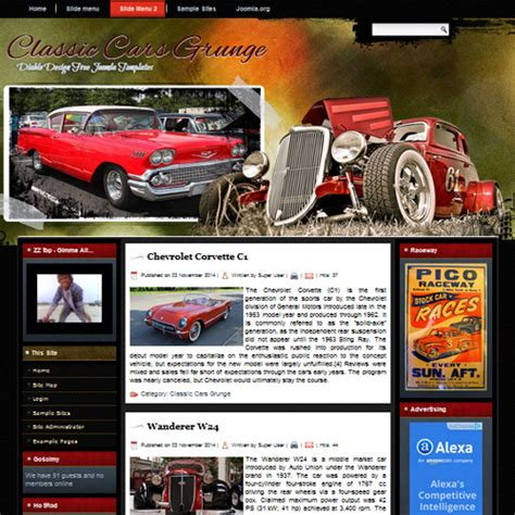 free classic cars grunge joomla template by diablo design