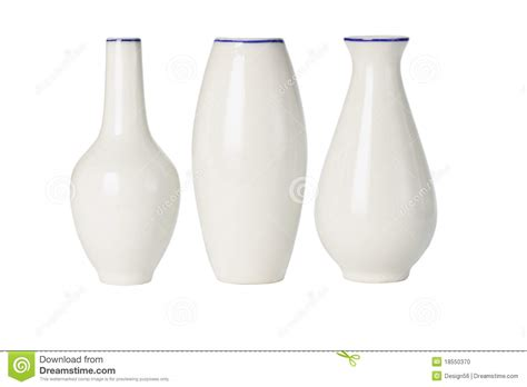 porcelain vases of various shapes stock photo