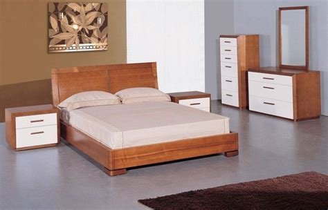 solid wood contemporary bedroom furniture modern teak white 2 toned 5 piece elegant solid wood