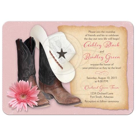 Country Kitchen Theme Ideas western wedding invitations cowboy boots hat pink daisy