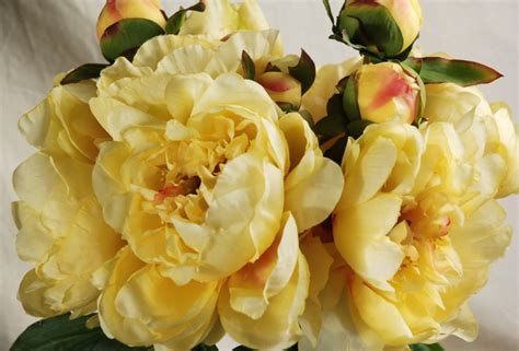 Silk Flower Table Decorations by Peony Bouquet Yellow