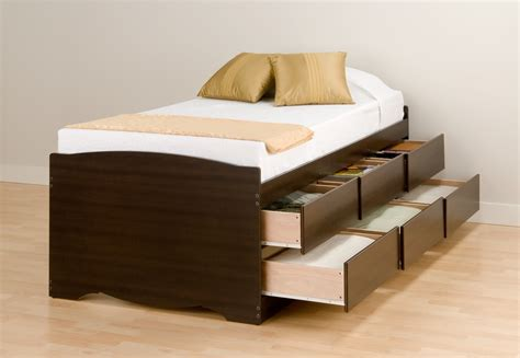 Wooden Twin Platform Bed Frame With 6 Tiered Drawers Bed Frame With Drawers Underneath