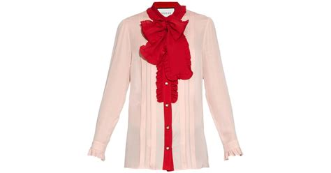 Id Pink Ruffle Silk Blouse gucci ruffle trimmed silk crepe blouse in pink lyst