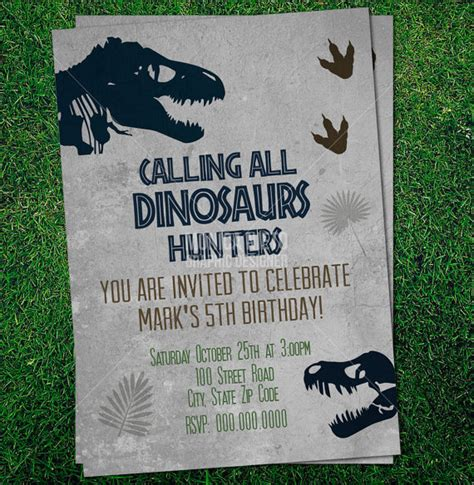 dinosaur invitation templates custom printable jurassic dinosaur birthday invitation