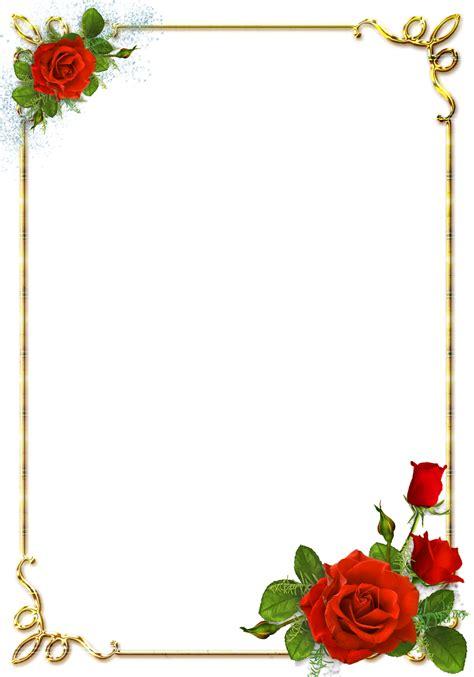 flowers card template border of paper central photoshop frames png douradas rosa vermelhas