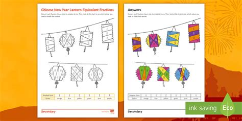 new year lanterns twinkl new year lantern equivalent fractions colouring