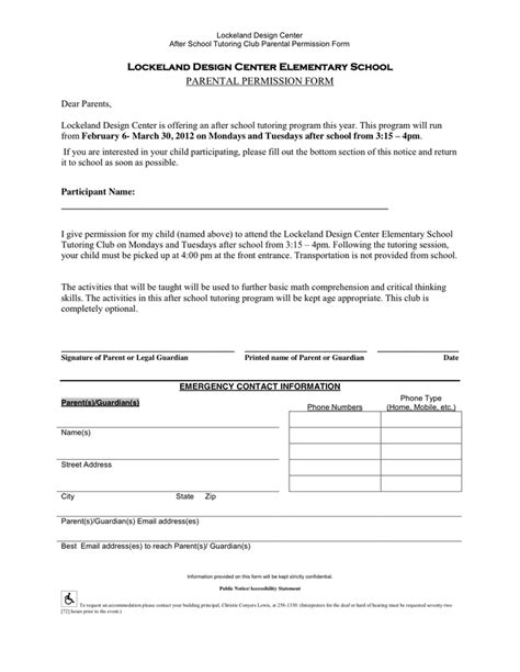 Permission Slip Template In Word And Pdf Formats Tutoring Slip Template