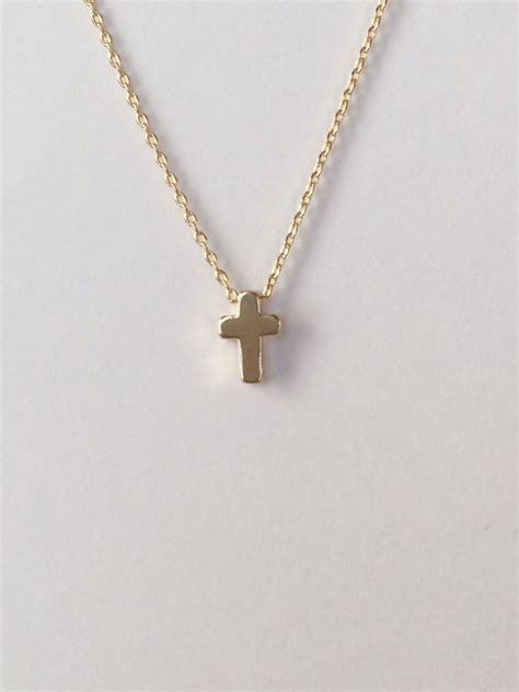 tiny gold cross necklace small cross necklace bridal