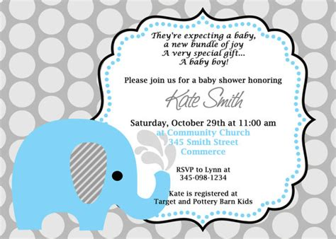 free printable elephant baby shower invitations printable blue elephant baby shower invitation customized