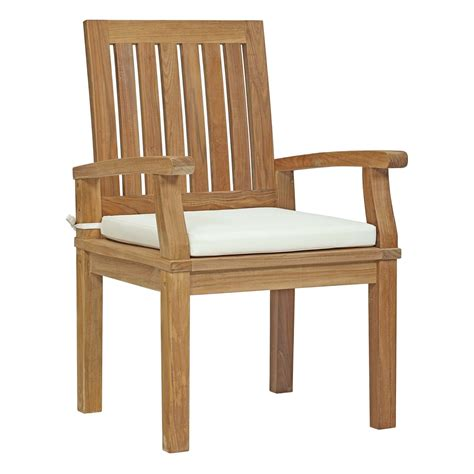 Teak Wood Dining Chairs Marina Outdoor Patio Teak Dining Chair White Furnishframe