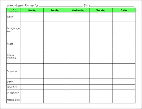 Printable Blank Weekly Lesson Plans Form   Search Results