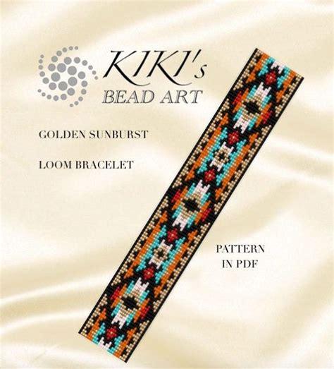 ethnic pocho bracelet ornament for bead loom pattern golden sunburst ethnic style loom
