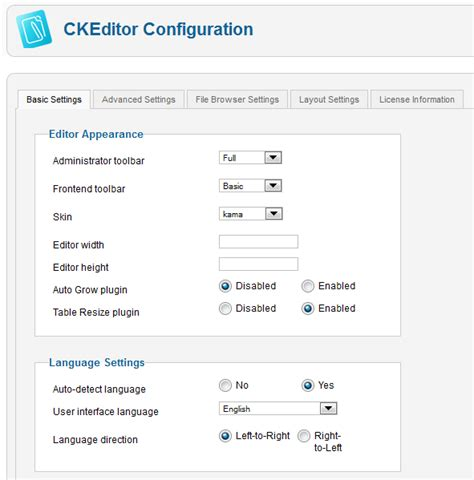 Configuration Section by Ckeditor For Joomla Configuration Cksource Docs