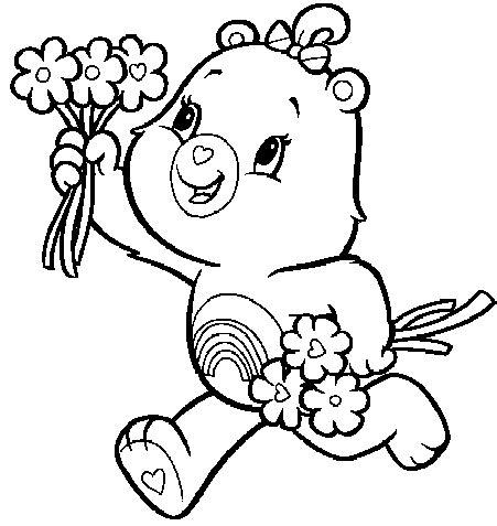 desenho de ursinho arco íris para colorir tudodesenhos