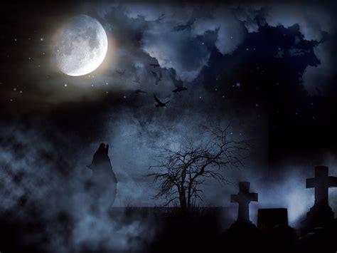 ilustracion gratis cementerio creepy luna lobo