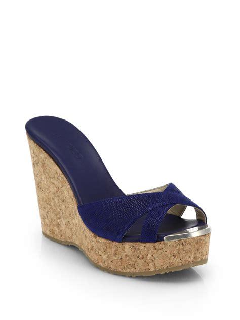 wedge sandals blue lyst jimmy choo perfume leather cork wedge sandals in blue