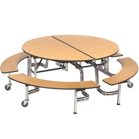 cafeteria bench amtab mobile round cafeteria table with benches mbr604