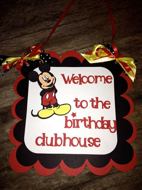 mickey mouse birthday party sign mickey mouse birthday door sign welcome to the clubhouse
