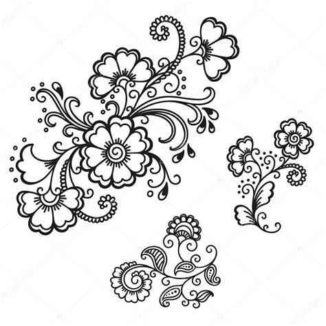 指甲花纹身花模板 曼海蒂 图库矢量图像 169 rugame tera gmail com 103796250