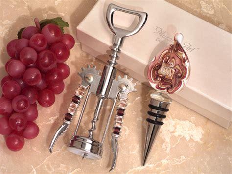 murano teardrop mauve and gold wine stopper opener set