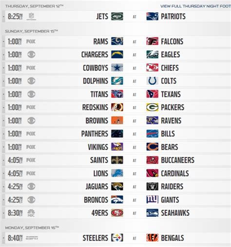 printable nfl schedule for week 2 2013 nfl regular season schedule released